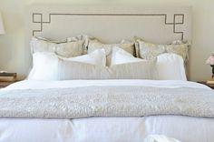 bedrooms - Serena & Lily Octavia Headboard Kravet Latika Limestone yellow gray shams gray lumbar pillow gray blanket Serena & Lily Octavia Headboard,