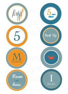 Surfs Up - Surfboard / Beach  Cupcake Topper, Tag or Sticker - Print Your Own