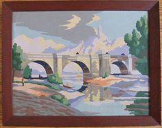 Vintage paint by numbers, framed, river bridge castle, 1950s, bright colors