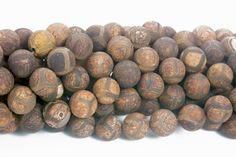 brown turtle DZI agate beads - Tibetan agate gemstone beads - matte round agate beads - vintage style agate beads -8-12mm beads -15 inch
