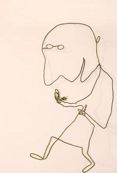 Risultati immagini per objects fils de fer Sculptures Sur Fil, Wire Sculptures, Alsace France, Wire Drawing, 3d Pen, Wire Art, Funny Art, Art Plastique, Surrealism