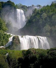 TheCascata delle Marmore, Umbria,(Marmore's Falls) is a man-madewaterfallcreated by the ancientRomans.