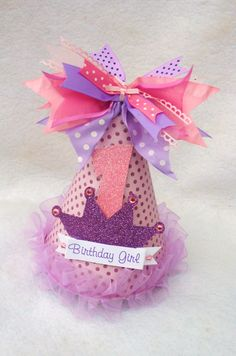 sparkly purple and pink princess party hat with polka dots. $13.50, via Etsy.