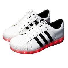 Weiß Streifen Schuhe Mit LED Damen