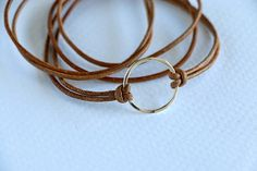Leather Wrap Bracelet with STERLING SILVER Circle and Clasp Natural dyed cord
