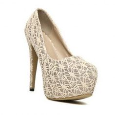 $13.88 Club Trendy Style Women's Spring Pumps With Lace Platform and Solid Color Design