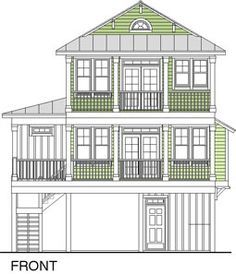 """image of front view of over 2,000 square feet beach cottage """"Beachwood 2304-4E"""""""