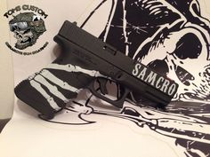 Samcro Glock in Cerakote Armor Black, Hidden white and Crimson Red