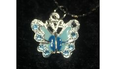 "MARCH BIRTH-STONE BUTTERFLY NECKLACE and 16"" CHAIN.FREE SHIIPING.NO FEES! $4.49"