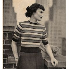 Misses Striped Blouse Knitting Pattern in Four Colors.   A pretty sweater, the stripes and in four colors, with the thinnest band being repeated in the wide ribbing at the hem, sleeve ends and a small amount at the neck. Their is a button back neck closure.