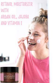 Retinol Moisturizer with Argan Oil, Jojoba and Vitamin E. Argan Oil, Anti Wrinkle, Vitamin E, Moisturizer, Cosmetics, Products, Top, Organic Beauty, Nice Asses