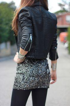 black leather jacket over silver shimmer tank & black skinnies.