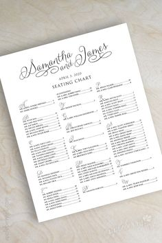 Printable wedding seating chart, wedding reception seating chart, wedding table seating plan, escort or place cards, black and white, Jane. www.appleberryink.com