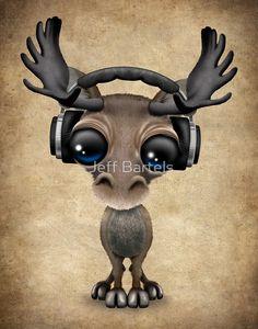 Cute Musical Moose Dj Wearing Headphones  by Jeff Bartels