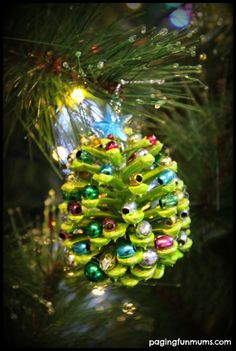 Beaded Pinecone Christmas Tree Ornament - fun to do with grandchildren