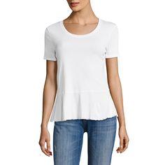 Cotton Peplum Top, White