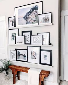 Perhaps on wall between kitchen & dining instead of a grid Photo Shelf, Picture Shelves, Gallery Wall Shelves, Photo Ledge, Living Room Inspiration, Home Decor Inspiration, Decor Ideas, Home Living Room, Living Room Decor