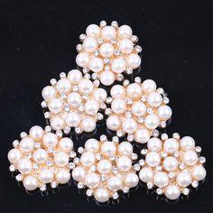 O envio gratuito de 20 pçs/lote 20 mm pérola e cristal strass botão apartamento de volta para o casamento / festa / vestido de cabelo DIY em Botões de Casa & jardim no AliExpress.com | Alibaba Group