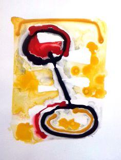 Serie Flor Pintura Abstracta sobre papel couché. Pintura acrílica, esmalte y tinta. Informalismo y textura, línea de GermantrArt en Etsy