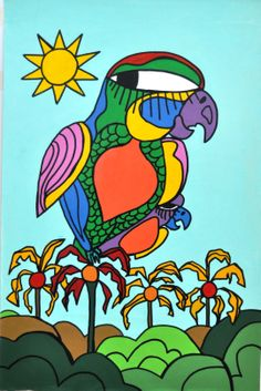 enamel on canvas- At Sao PAulo My Works, Bowser, Bird, Canvas, Enamel, Fictional Characters, Murals, Artists, Art