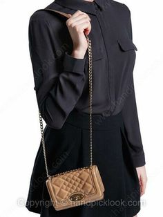 Khaki Quilted Embellished Chain Shoulder Bag -$21.29