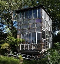 A beautiful house assembled from old windows in Christiania, Copenhagen