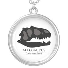Allosaurus Skull Silver Plated Necklace