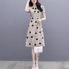 Style Fashion Dot Print Thin Slim Short Sleeve O-Neck Midi A-Line Dresses For Women Summer High Waist Female Plus Size Mini Dresses For Women, Summer Dresses, Clothes For Women, Midi Dresses, Skirt Fashion, Style Fashion, Fasion, Frock Design, Types Of Sleeves