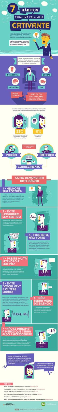 Infográfico: 7 hábitos para uma fala mais cativante.