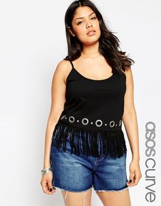 Image 1 of ASOS CURVE Cami with Fringe and Eyelet Detail
