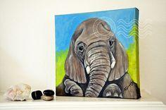 Elephant Original Oil PaintingBoy nursery decor Zoo by ArtbyAFox