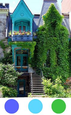 amazing quirky house - gorgeous colour!