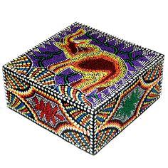Handmade 'Elephant' Aborigine Dot Art Box (Indonesia) (Box Aborigine dot design Elephant 7), Multi (Wood)