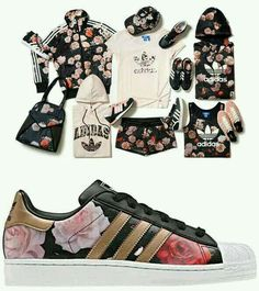 Adidas… leather adidas can't go wrong… bring on the floral…only the shoes though.I LOVE ADIDAS ! Nike Free Shoes, Nike Shoes Outlet, Adidas Outfit, Adidas Shoes, Converse Shoes, Sporty Outfits, Cute Outfits, Summer Outfits, Diy Wedding Shoes