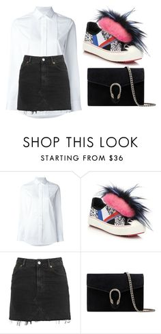 """Untitled #2240"" by aderikesode ❤ liked on Polyvore featuring Yves Saint Laurent, Fendi, Topshop and Gucci"