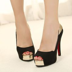 Metal Platform Splicing Black Suede Peep Toe Pumps