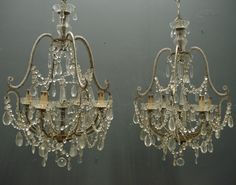Pair of reproduction chandeliers based on a 19th century italian pair reproduction italian beaded chandeliers based on a 19th century italian design from jasperjacks aloadofball Image collections