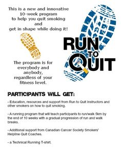 Want to #quitsmoking AND learn to run? There's a program to help you do that. #runtoquit. Click the pin to learn more.