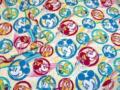 1 Yard Cotton Fabric Disney Cartoon Characters by dotcn
