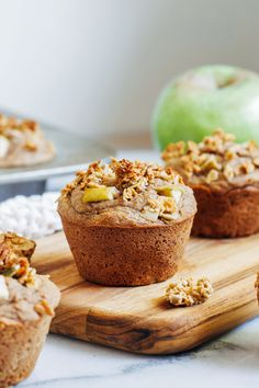 Vegan Gluten-free Apple Cinnamon Muffins- made with whole grain flour and naturally sweetened, these moist and nutritious muffins are the perfect treat to bake on a chilly fall weekend! Gluten Free Muffins, Gluten Free Cookies, Vegan Gluten Free, Paleo, Dairy Free, Healthy Muffin Recipes, Breakfast Recipes, Vegetarian Recipes, Vegan Breakfast