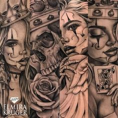 Image may contain: one or more people Skull Rose Tattoos, Body Art Tattoos, Girl Tattoos, Chicanas Tattoo, Clown Tattoo, Gangster Tattoos, Badass Tattoos, Girls With Sleeve Tattoos, Tattoos For Guys
