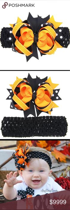 "Halloween Polka Dot Headband w/ Clip Baby Girl NWT ~Coming Soon~ Halloween Headband / hairband with clip.  White Polka dot design with orange and black ribbons and bow.  Headpiece is approximately 4 3/4"" x 3 1/2"".  Smoke free home and fast shipping. Accessories Hair Accessories"