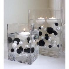Unique Elegant Vase Fillers 80 Pieces Pack Jumbo Pearl Beads Black and White with Sparkling Black Diamonds and Gems Accents ...... the Transparent Water Gels That Are Floating the Pearl Beads Are Sold Separately.