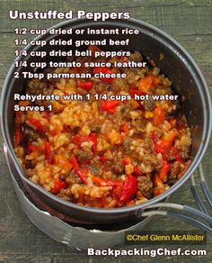 Unstuffed peppers (trail food)