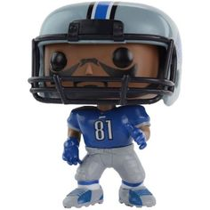 Funko Calvin Johnson Detroit Lions Figure ($20) ❤ liked on Polyvore featuring home, home decor, blue, blue home decor and vinyl figure