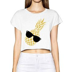 JXMD Womens Dew Navel T Pineapple Bikini Underwear White XL -- To view further for this item, visit the image link. (This is an affiliate link and I receive a commission for the sales) Pineapple Bikini, Nursing Wear, Bikini Underwear, Navel, Image Link, Crop Tops, Amazon, Awesome, Bikinis