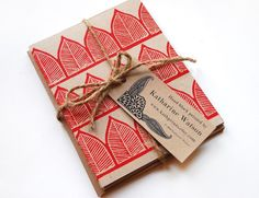 Five hand block printed cards and envelopes by ShopKatharineWatson