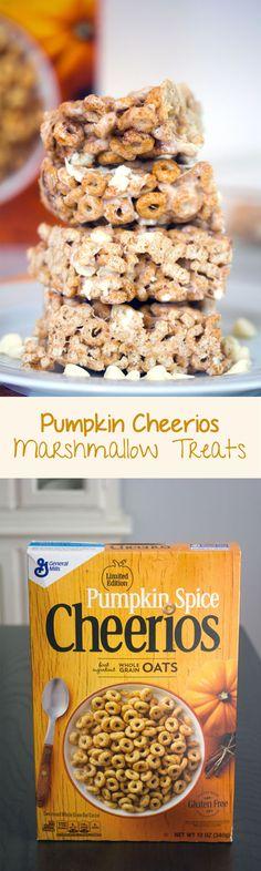 Pumpkin Cheerios Marshmallow Treats -- Pumpkin Spice Cheerios combine with marshmallows and white chocolate chips for a seasonal dessert!   wearenotmartha.com