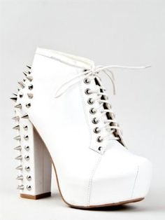Vintage FRANCHESKA-03 Lita Spike Chunky High Heel Platform Lace Up Ankle Boot Booty - Price:$45.00 - $49.99