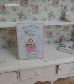 Sweet Shabby Picture, Dollhouse Miniature Handmade, 1:12  Scale Dolls House